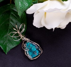Craftsman created sterling silver wire wrapped pendant