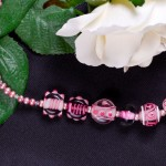 Pink Lampwork and Swarovski Necklace