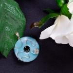 Blue Amazonite donut pendant