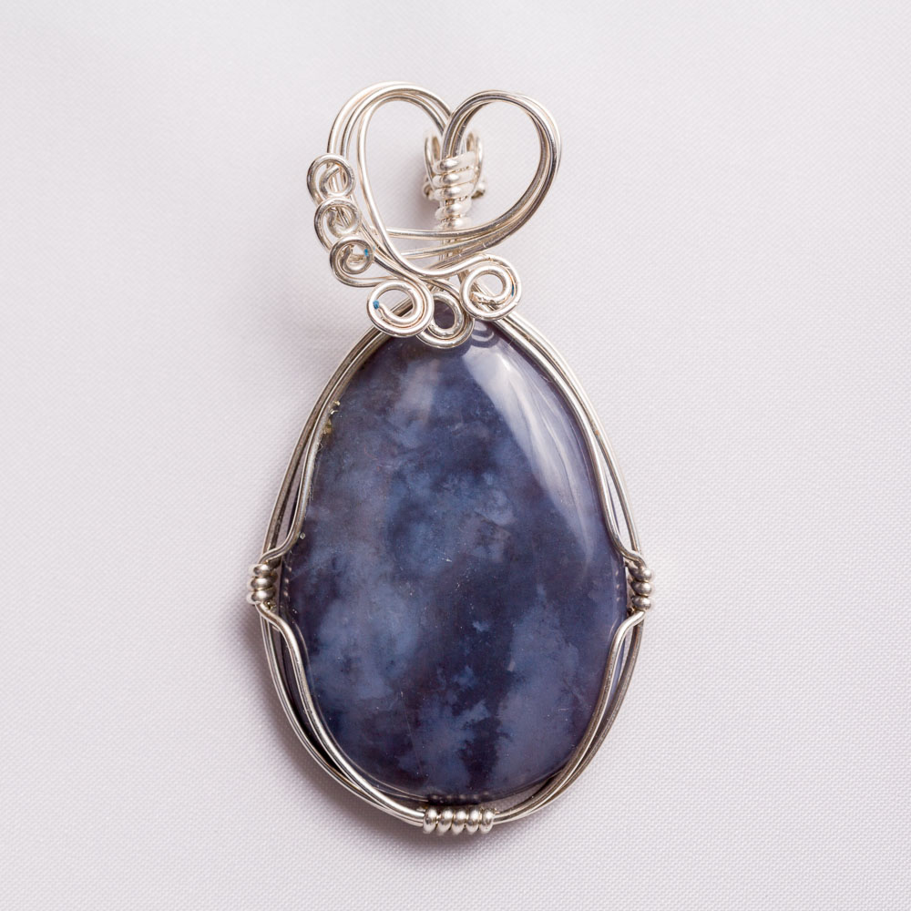 Craftsman created sterling silver filled wire wrapped pendant ...